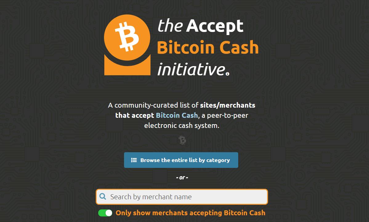 ビットコインキャッシュ決済の可能な店舗検索サイト『the Accept Bitcoin Cash initiative』