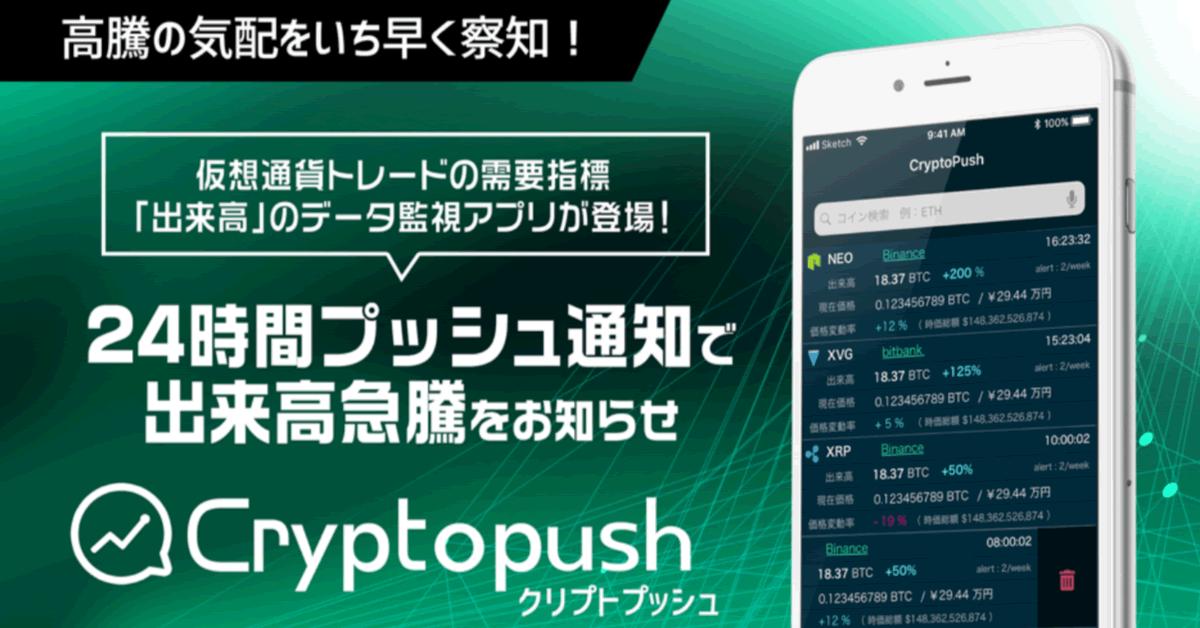 仮想通貨トレード支援アプリ「Cryptopush」がチャート閲覧機能追加!