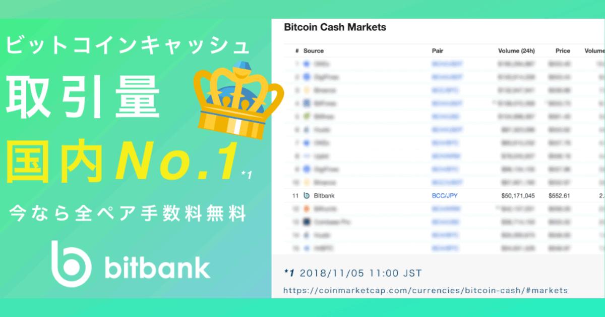 大手取引所ビットバンク、国内でビットコインキャッシュ(BCH)取引高No.1を達成!