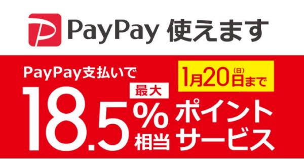 【1月20まで】PayPay、ビックカメラにて最大18.5%相当ポイント還元サービス開催中!