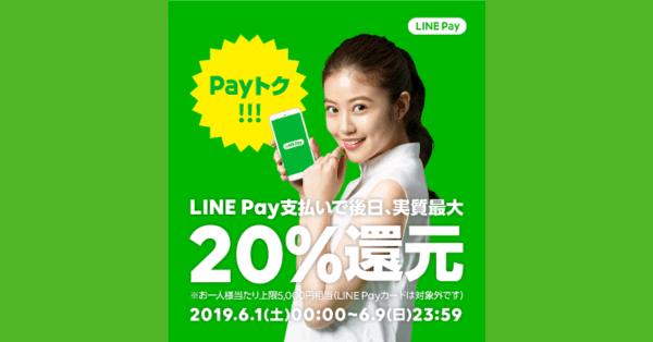 【残り2日】LINE Pay(ラインペイ)、最大20%還元「Payトク!!!」開催中
