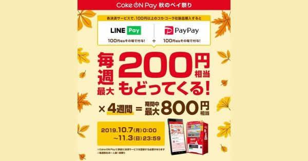 【本日終了】コカ・コーラ、自販機でLINE Pay・PayPay利用で最大800円相当還元
