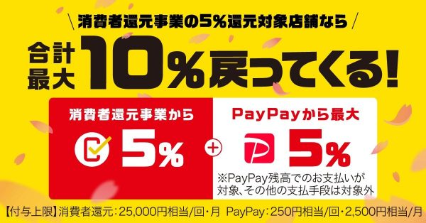 PayPay、キャッシュレス・消費者還元対象店舗で最大10%還元 4月1日より