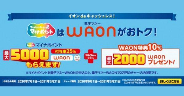 WAON、マイナポイント申込みで最大7,000円相当還元 7月1日受付開始