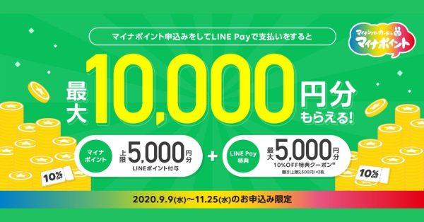 LINE Pay、マイナポイント申込みでクーポン最大5,000円分を追加プレゼント 9月9日より