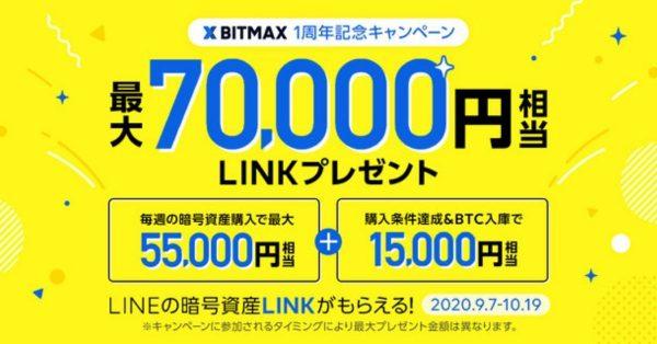 BITMAX、暗号資産を毎週10万円以上購入でLINK最大70,000円相当プレゼント 10月19日まで