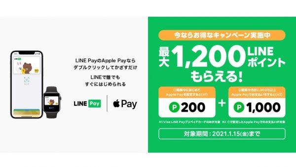 【明日終了】LINE Pay、Apple Pay利用で最大1,200ポイント